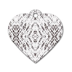 Pattern Monochrome Terrazzo Dog Tag Heart (one Side) by Simbadda