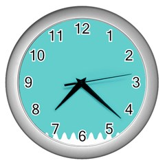 Grey Wave Water Waves Blue White Wall Clocks (silver)