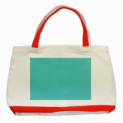 Grey Wave Water Waves Blue White Classic Tote Bag (red) by Alisyart