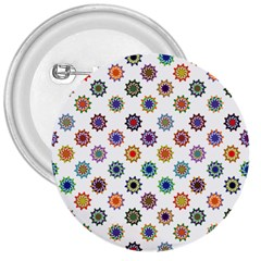 Flowers Color Artwork Vintage Modern Star Lotus Sunflower Floral Rainbow 3  Buttons