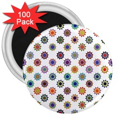 Flowers Color Artwork Vintage Modern Star Lotus Sunflower Floral Rainbow 3  Magnets (100 Pack) by Alisyart
