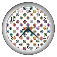 Flowers Color Artwork Vintage Modern Star Lotus Sunflower Floral Rainbow Wall Clocks (silver)
