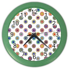 Flowers Color Artwork Vintage Modern Star Lotus Sunflower Floral Rainbow Color Wall Clocks by Alisyart