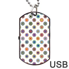 Flowers Color Artwork Vintage Modern Star Lotus Sunflower Floral Rainbow Dog Tag Usb Flash (one Side) by Alisyart