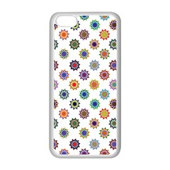 Flowers Color Artwork Vintage Modern Star Lotus Sunflower Floral Rainbow Apple Iphone 5c Seamless Case (white) by Alisyart
