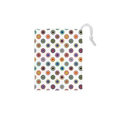 Flowers Color Artwork Vintage Modern Star Lotus Sunflower Floral Rainbow Drawstring Pouches (xs)