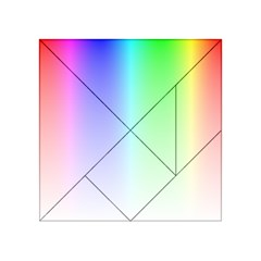 Layer Light Rays Rainbow Pink Purple Green Blue Acrylic Tangram Puzzle (4  X 4 )