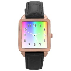 Layer Light Rays Rainbow Pink Purple Green Blue Rose Gold Leather Watch  by Alisyart