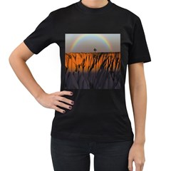 Rainbows Landscape Nature Women s T Shirt (black) (two Sided)