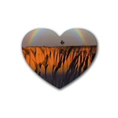 Rainbows Landscape Nature Rubber Coaster (heart)  by Simbadda