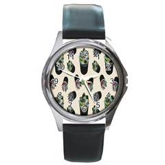 Succulent Plants Pattern Lights Round Metal Watch by Simbadda