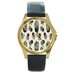 Succulent Plants Pattern Lights Round Gold Metal Watch by Simbadda