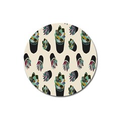 Succulent Plants Pattern Lights Magnet 3  (round)