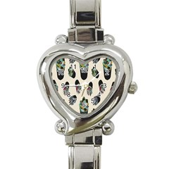 Succulent Plants Pattern Lights Heart Italian Charm Watch by Simbadda