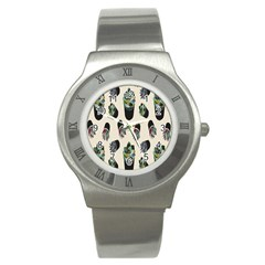 Succulent Plants Pattern Lights Stainless Steel Watch by Simbadda
