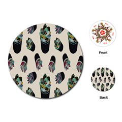 Succulent Plants Pattern Lights Playing Cards (round)  by Simbadda