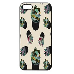 Succulent Plants Pattern Lights Apple Iphone 5 Seamless Case (black) by Simbadda