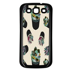 Succulent Plants Pattern Lights Samsung Galaxy S3 Back Case (black) by Simbadda