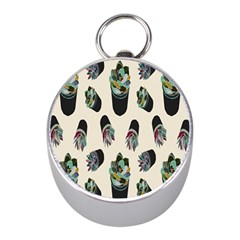 Succulent Plants Pattern Lights Mini Silver Compasses by Simbadda