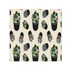 Succulent Plants Pattern Lights Small Satin Scarf (square) by Simbadda