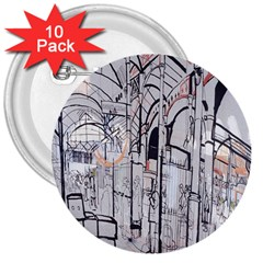 Cityscapes England London Europe United Kingdom Artwork Drawings Traditional Art 3  Buttons (10 Pack)  by Simbadda