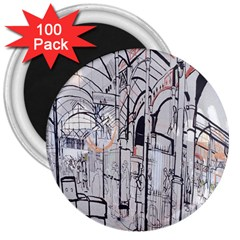 Cityscapes England London Europe United Kingdom Artwork Drawings Traditional Art 3  Magnets (100 Pack) by Simbadda