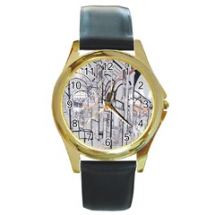 Cityscapes England London Europe United Kingdom Artwork Drawings Traditional Art Round Gold Metal Watch