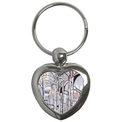 Cityscapes England London Europe United Kingdom Artwork Drawings Traditional Art Key Chains (heart)  by Simbadda