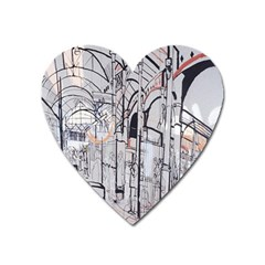 Cityscapes England London Europe United Kingdom Artwork Drawings Traditional Art Heart Magnet by Simbadda