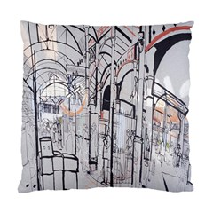 Cityscapes England London Europe United Kingdom Artwork Drawings Traditional Art Standard Cushion Case (two Sides) by Simbadda