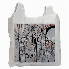 Cityscapes England London Europe United Kingdom Artwork Drawings Traditional Art Recycle Bag (two Side)  by Simbadda