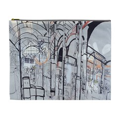 Cityscapes England London Europe United Kingdom Artwork Drawings Traditional Art Cosmetic Bag (xl) by Simbadda