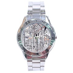 Cityscapes England London Europe United Kingdom Artwork Drawings Traditional Art Stainless Steel Analogue Watch by Simbadda