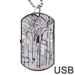Cityscapes England London Europe United Kingdom Artwork Drawings Traditional Art Dog Tag Usb Flash (two Sides) by Simbadda