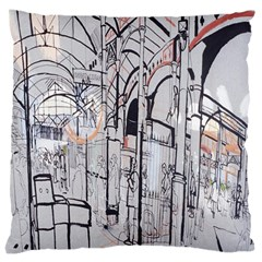 Cityscapes England London Europe United Kingdom Artwork Drawings Traditional Art Large Cushion Case (one Side) by Simbadda