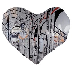 Cityscapes England London Europe United Kingdom Artwork Drawings Traditional Art Large 19  Premium Flano Heart Shape Cushions by Simbadda