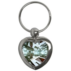 Digital Art Paint In Water Key Chains (heart)
