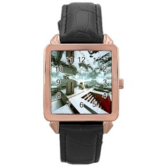 Digital Art Paint In Water Rose Gold Leather Watch  by Simbadda