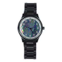 Glitch Art Stainless Steel Round Watch