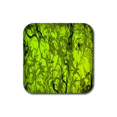 Concept Art Spider Digital Art Green Rubber Coaster (square)  by Simbadda