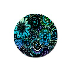 Sun Set Floral Rubber Coaster (round)  by Simbadda