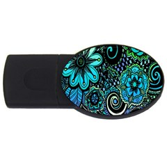 Sun Set Floral Usb Flash Drive Oval (4 Gb) by Simbadda
