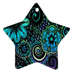 Sun Set Floral Star Ornament (two Sides)