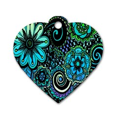 Sun Set Floral Dog Tag Heart (two Sides) by Simbadda