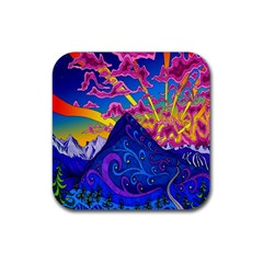 Psychedelic Colorful Lines Nature Mountain Trees Snowy Peak Moon Sun Rays Hill Road Artwork Stars Rubber Square Coaster (4 Pack)