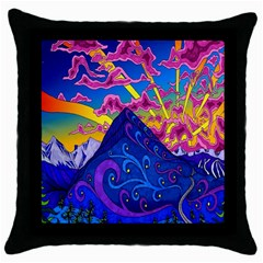 Psychedelic Colorful Lines Nature Mountain Trees Snowy Peak Moon Sun Rays Hill Road Artwork Stars Throw Pillow Case (black) by Simbadda