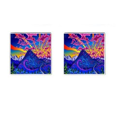 Psychedelic Colorful Lines Nature Mountain Trees Snowy Peak Moon Sun Rays Hill Road Artwork Stars Cufflinks (square) by Simbadda