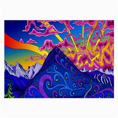 Psychedelic Colorful Lines Nature Mountain Trees Snowy Peak Moon Sun Rays Hill Road Artwork Stars Large Glasses Cloth (2 Side) by Simbadda