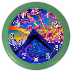 Psychedelic Colorful Lines Nature Mountain Trees Snowy Peak Moon Sun Rays Hill Road Artwork Stars Color Wall Clocks