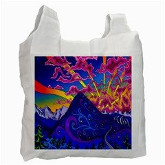 Psychedelic Colorful Lines Nature Mountain Trees Snowy Peak Moon Sun Rays Hill Road Artwork Stars Recycle Bag (one Side) by Simbadda